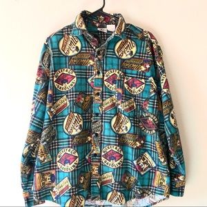 Disney Mickey Mouse Gasoline Flannel Buttonup Med